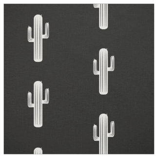 Cactus Print in Black and White Fabric