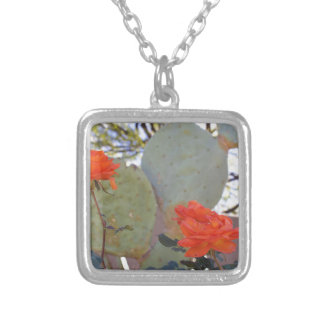 Cactus Rose Silver Plated Necklace