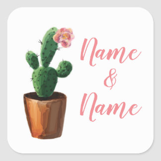 Cactus Stickers Pink Wedding Labels Cacti Pretty
