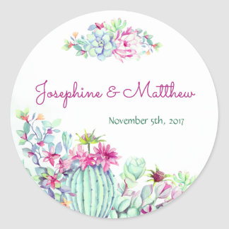 Cactus & Succulent Flowers Wedding Stickers