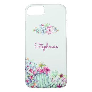 Cactus & Succulent Personalized Watercolor iPhone 8/7 Case
