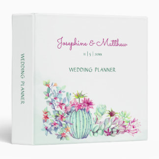 Cactus & Succulent Personalized Wedding Planner 3 Ring Binder