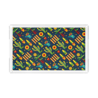 Cactus sunflower on blue Festa Junina pattern Acrylic Tray