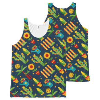 Cactus sunflower on blue Festa Junina pattern All-Over-Print Tank Top