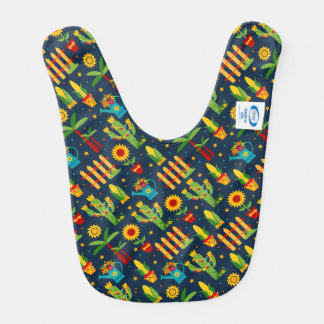 Cactus sunflower on blue Festa Junina pattern Bib