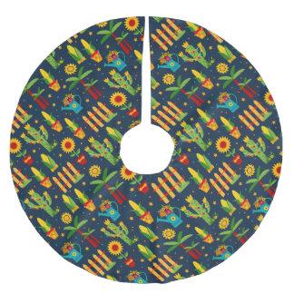 Cactus sunflower on blue Festa Junina pattern Brushed Polyester Tree Skirt