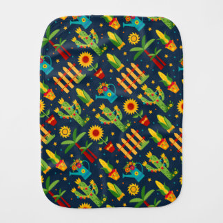Cactus sunflower on blue Festa Junina pattern Burp Cloth