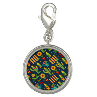 Cactus sunflower on blue Festa Junina pattern Charms