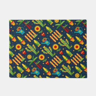 Cactus sunflower on blue Festa Junina pattern Doormat