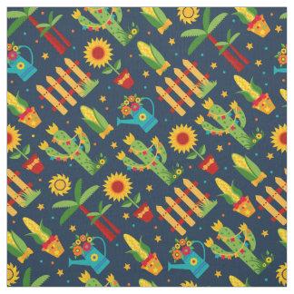 Cactus sunflower on blue Festa Junina pattern Fabric