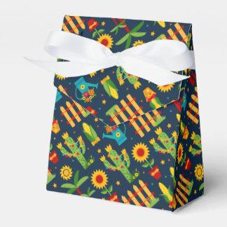 Cactus sunflower on blue Festa Junina pattern Favor Box