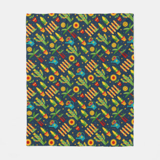 Cactus sunflower on blue Festa Junina pattern Fleece Blanket