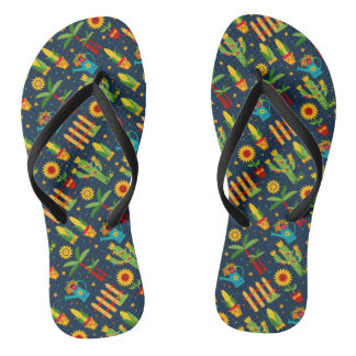 Cactus sunflower on blue Festa Junina pattern Flip Flops