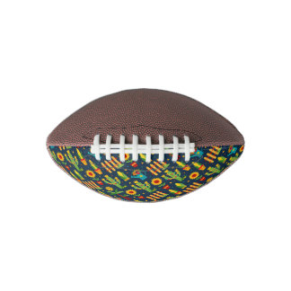 Cactus sunflower on blue Festa Junina pattern Football