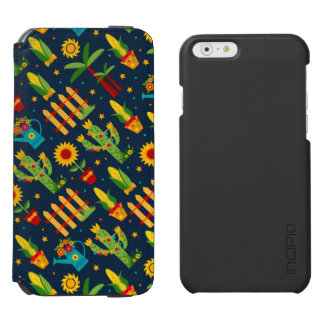 Cactus sunflower on blue Festa Junina pattern Incipio Watson™ iPhone 6 Wallet Case