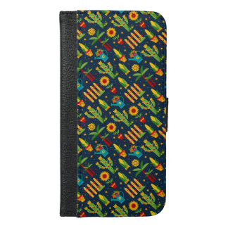 Cactus sunflower on blue Festa Junina pattern iPhone 6/6s Plus Wallet Case