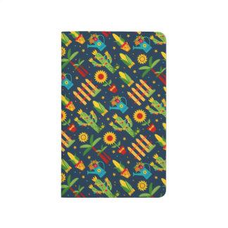 Cactus sunflower on blue Festa Junina pattern Journal