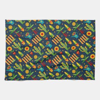 Cactus sunflower on blue Festa Junina pattern Kitchen Towel