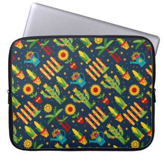 Cactus sunflower on blue Festa Junina pattern Laptop Sleeve