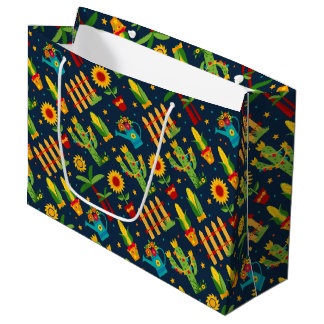 Cactus sunflower on blue Festa Junina pattern Large Gift Bag