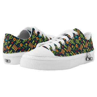 Cactus sunflower on blue Festa Junina pattern Low-Top Sneakers