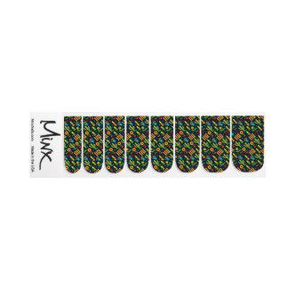 Cactus sunflower on blue Festa Junina pattern Minx Nail Art
