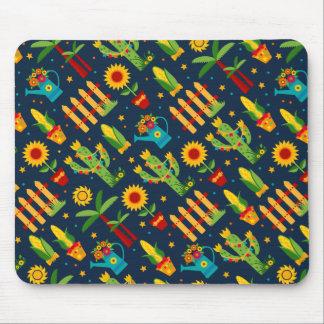 Cactus sunflower on blue Festa Junina pattern Mouse Pad