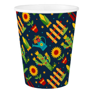 Cactus sunflower on blue Festa Junina pattern Paper Cup