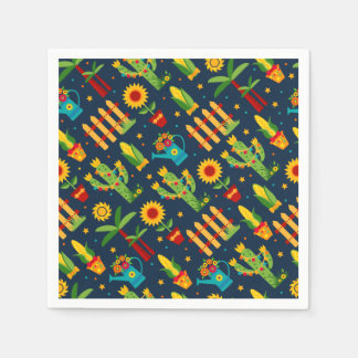 Cactus sunflower on blue Festa Junina pattern Paper Napkin