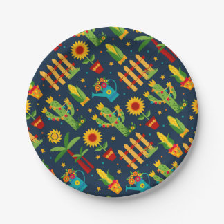 Cactus sunflower on blue Festa Junina pattern Paper Plate