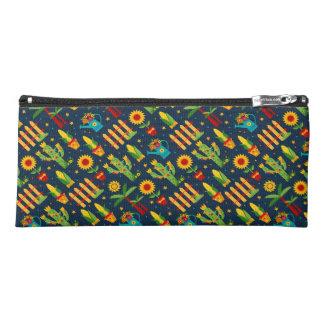 Cactus sunflower on blue Festa Junina pattern Pencil Case