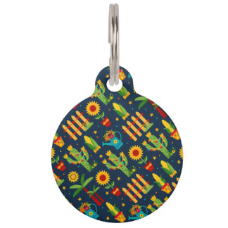 Cactus sunflower on blue Festa Junina pattern Pet ID Tag