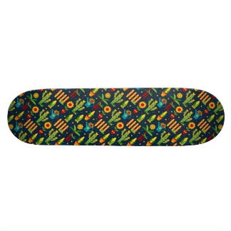 Cactus sunflower on blue Festa Junina pattern Skate Deck