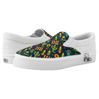 Cactus sunflower on blue Festa Junina pattern Slip-On Sneakers