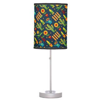 Cactus sunflower on blue Festa Junina pattern Table Lamp