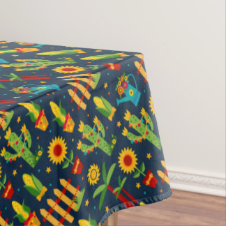 Cactus sunflower on blue Festa Junina pattern Tablecloth