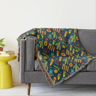 Cactus sunflower on blue Festa Junina pattern Throw Blanket