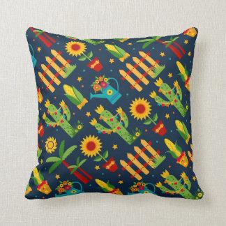 Cactus sunflower on blue Festa Junina pattern Throw Pillow