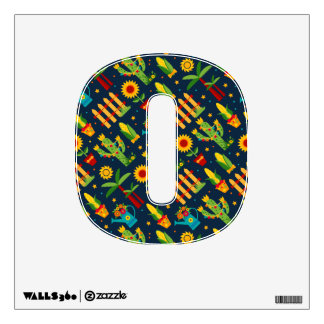 Cactus sunflower on blue Festa Junina pattern Wall Sticker