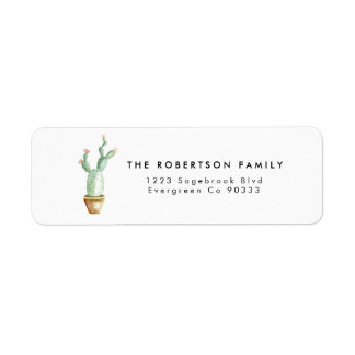 Cactus Watercolor Address Label
