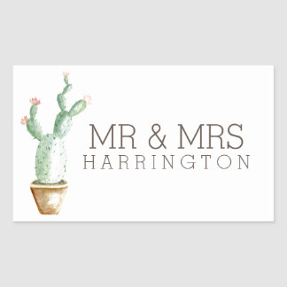 Cactus Watercolor | Mr & Mrs Sticker
