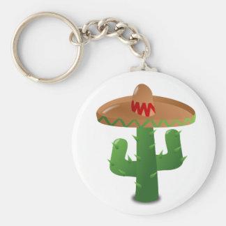 Cactus Wearing Sombrero Basic Round Button Keychain