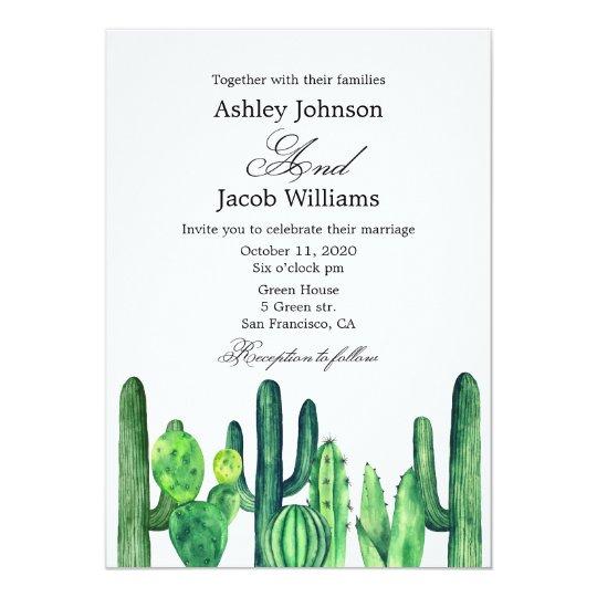 Cactus wedding invitation. Succulent modern invite