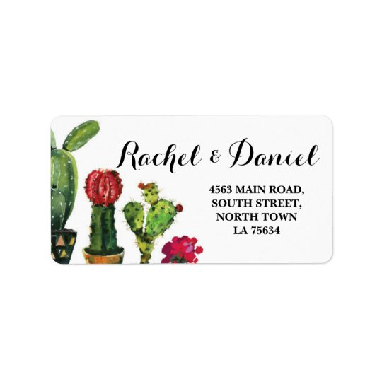 Cactus Wedding Return Address Label Mexican Fiesta