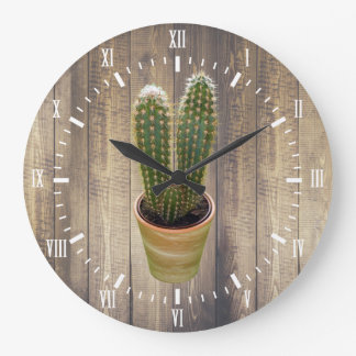 Cactus White Numerals Modern Scandinavian Style Large Clock