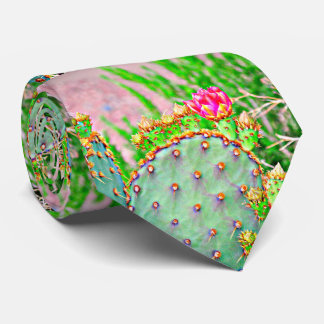 Cactus with Pink Bloom Tie