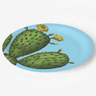 Cactus with Yellow Flowers Paper Plate