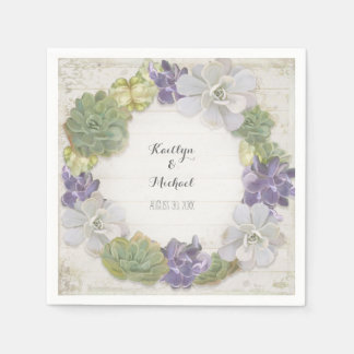 Cactus Wreath Leaf Succulent Wooden Paper Party Paper Napkin
