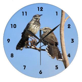 Cactus Wren Couple Clock