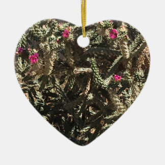 cactusbunch ceramic heart ornament